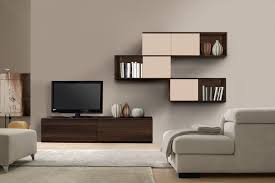minimalist modern living room modern wall units with three levels complete with tv