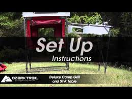 Ozark Trail Deluxe Camp Kitchen And Sink Table YouTube - Oztrail camp kitchen deluxe with sink