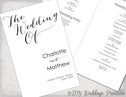 wedding ceremony program templates wedding program template calligraphy black white printable