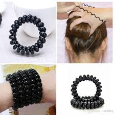 girls hair rings images Silicone rubber gum for hair styling telephone black ring cord jpg