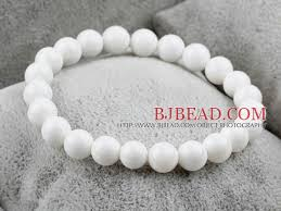 white beaded bracelet images 8mm round white sea shell elastic beaded bracelet bjbead white jpg