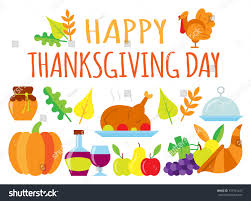 colored happy thanksgiving day card greeting stock vector