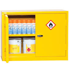 Yellow Flammable Storage Cabinet Coshh Flammable Material Storage Cabinets 700x915mm Key
