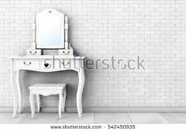Vanity With Stool Antique Bedroom Vanity Table Stool Mirror Stock Illustration