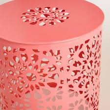 shell pink metal soleil drum stool world market