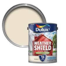 dulux weathershield gardenia cream smooth matt masonry paint 5l