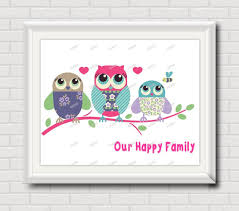 printable owl art owl family nursery wall art poster print modern pictures kids room
