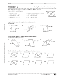 properties of parallelograms worksheet practice 6 3 proving that a quadrilateral is a parallelogram 10th
