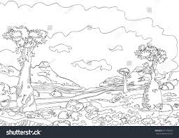 hand drawing ornamental landscape trees stones stock vector