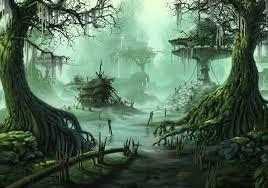 future village wallpapers fantasy swamp fantasy village trees swamp city wallpaper