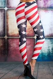 Pan American Flag Bad American Flag Leggings Striped Star Stretch Pants