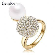 aliexpress buy beagloer new arrival ring gold beagloer hot sale big simulated pearl engagement ring gold color