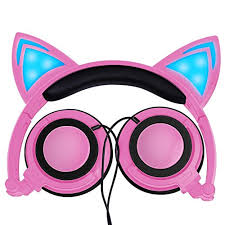 light up cat headphones igeekid upgraded version cat ear kids headphones led light up