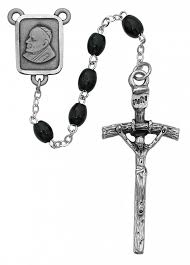 papal crucifix black wood rosary with papal crucifix and center