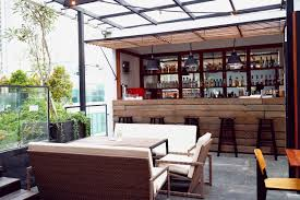 kitchen design rooftop kitchen with mini bar wooden furniture