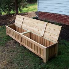 hand made custom western red cedar patio storage bench by grant