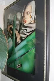 Tamara De Lempicka Art by Tamara De Lempicka In Green Bugatti Oil Framed Ace Rare Collectibles