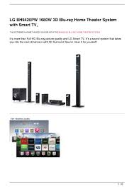 lg 3d home theater system lg bh9420pw 1080w 3d blu ray home theater system with smart tv