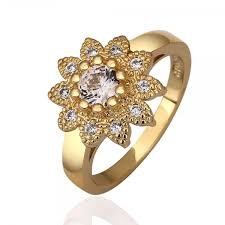 rings design women s sun shape rhinestone design environmental copper ring