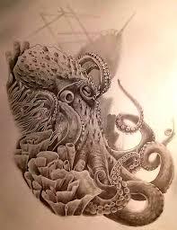 polynesian octopus tattoo sketch