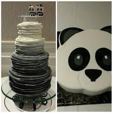 wedding cake emoji ombre ruffle wedding cake with the cutest topper and emoji panda