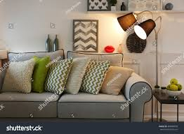 beautiful modern living room grey sofa stock photo 308489978