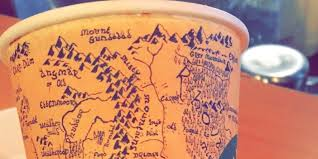 Map Middle Earth Drawing Of Middle Earth On Coffee Cup Is One That Even Gollum