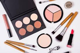 makeup artist equipment professional makeup tools flatlay on white background stock image