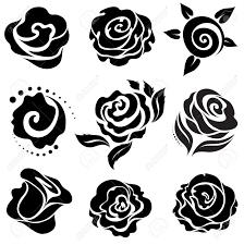 Black Rose Flower Set Of Black Rose Flower Design Elements Royalty Free Cliparts
