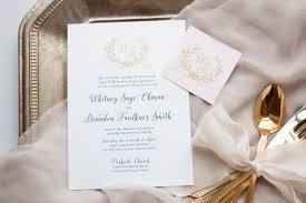 Monogram Wedding Invitations Meg Morrow Fine Paper U0026 Event Stylingnavy Gold And Blush Laurel