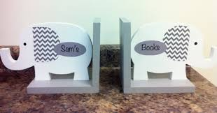 personalized bookends baby elephant bookends nursery decor bookends for kids gray and