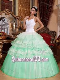 mint quinceanera dresses mint colored and white spaghetti straps tiered quinceanera dresses