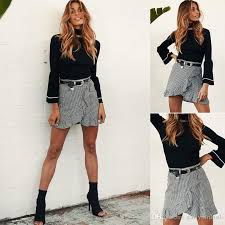 shortest skirts 2018 new hot selling asymmetrical plaid women skirts summer