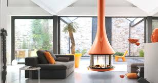mid century modern hanging fireplace retro interior design