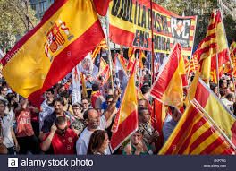 Picture Of Spain Flag Anti Independence Catalan Protestors Carry Spanish Flags And