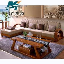 Sofa Small Apartment Solid Wood Corner Fabric Sofa Small Apartment Sofa Solid Wood Four