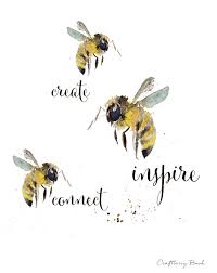craftberry bush watercolor bee printable and an announcement