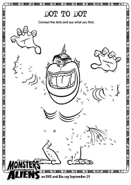 monsters vs aliens dot to dot printable printables for kids