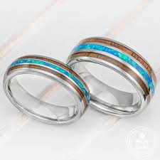 wedding rings opal images Pair of 6 8mm width tungsten couple wedding ring set with blue opal jpg