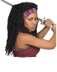barnyard butcher spirit halloween the walking dead michonne wig exclusively at spirit halloween