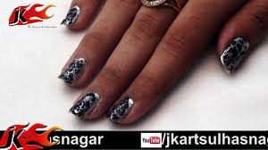 diy crackle nail art black and silver nail art how to do jk