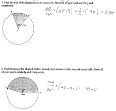 Area Of Sector Worksheet Sector Area Students Are Asked To Find The Areas Of Sectors In Two