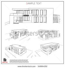 wireframe blueprint drawing 3d building house stock vector