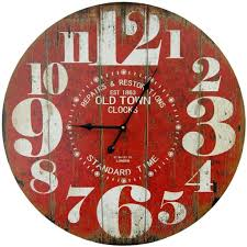 amazon com round red decorative wall clock with big numbers and