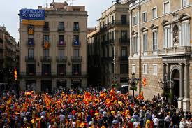 the latest protesters rally against catalan independence the