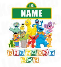 birthday boy sesame birthday iron on transfer add a family member