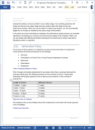 employee handbook template download 100 pg ms word templates u0026 excel