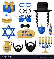 hanukkah stickers happy hanukkah photo booth stickers accessories vector image