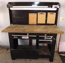 workbench with pegboard and light saratoga auto repair tire depot auction elco auctions