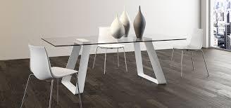 tavoli e sedie da cucina moderni tavolo moderno basamento metallo piano vetro o legno arredo3
